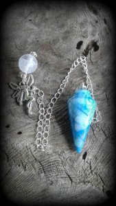 Electric Blue Agate Pendulum