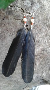 Morrigan Crow Feather Earrings