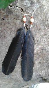 Morrigan Crow Feather Earrings