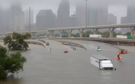 Interstate+highway+45+is+submerged+from+the+effects+of+Hurricane+Harvey+seen+during+widespread+flooding+in+Houston,+Texas,+U.S.+August+27,+2017.