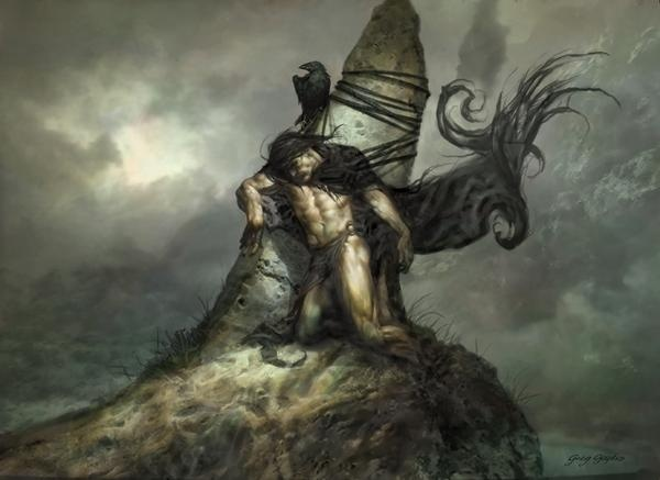 morrigan on Cúchullains shoulder